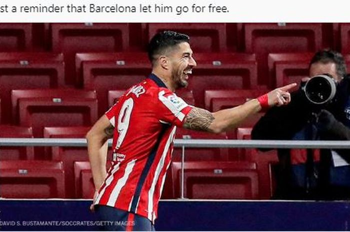 Luis Suarez merayakan gol ke gawang Valencia dalam pekan ke-20 Liga Spanyol 2020-2021, Minggu (24/1/2021).
