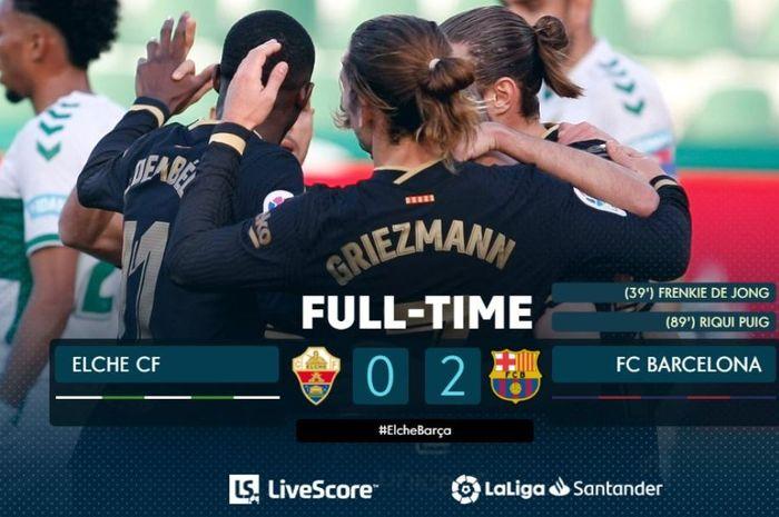 Barcelona berhasil menang tanpa Lionel Messi dari Elche dan pemain paling dibenci Ronald Koeman mencetak gol.