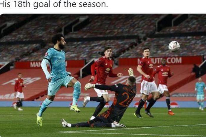 Menyelip di antara Victor Lindelof dan Luke Shaw, Mohamed Salah membobol gawang Manchester United, tetapi remaja 19 tahun membalas.