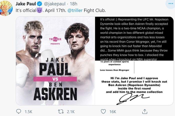 Pengumuman duel Jake Paul vs Ben Askren di Twitter.