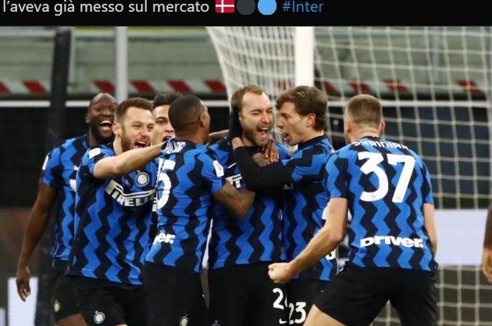 Momen kegembiraan Christian Eriksen usai mencetak gol kemenangan bagi Inter Milan di babak perempat final Coppa Italia 2020-2021.