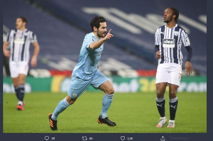 Ilkay Guendogan merayakan golnya untuk Manchester City ke gawang West Bromwich Albion dalma lanjutan Liga Inggris di The Hawthorns, 26 Januari 2021.
