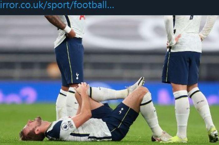 Harry Kane mengalami cedera dalam partai Tottenham Hotspur vs Liverpool di Liga Inggris, 28 Januari 2021.