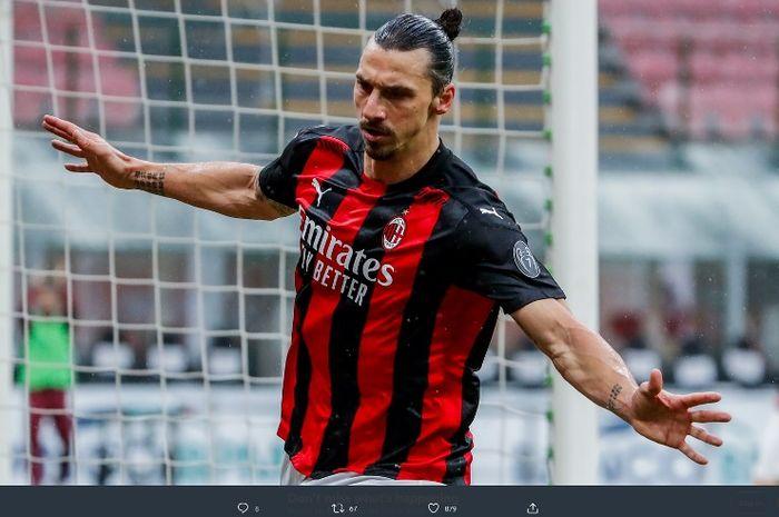 Zlatan Ibrahimovic sukses mencetak brace dalam laga AC Milan kontra Crotone yang berkesudahan 4-0 pada laga Liga Italia 2020-2021.