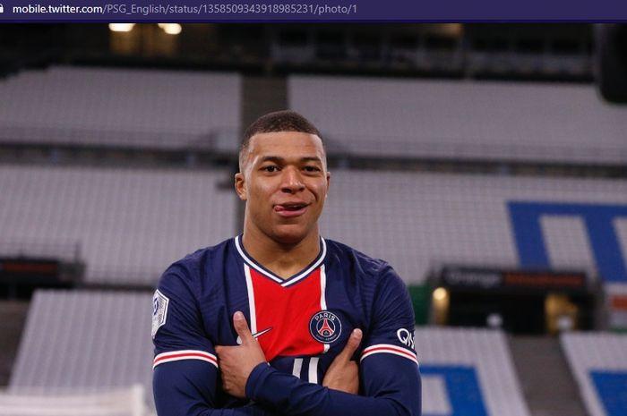 Wonderkid Paris Saint-Germain (PSG), Kylian Mbappe, merayakan gol ke gawang Olympique Marseille pada pekan ke-24 Liga Prancis 2020-2021 pada Senin (8/2/2021) pukul 03.00 WIB.