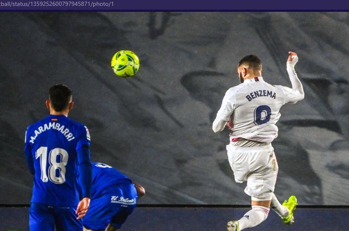 Kepala berharga Karim Benzema berhasil membawa Real Madrid membenamkan Getafe di Liga Spanyol 2020-2021.