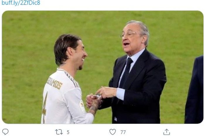 Presiden Real Madrid, Florentino Perez, terlibat percakapan melalui sambungan telepon dengan Sergio Ramos, negosiasi temui titik terang?