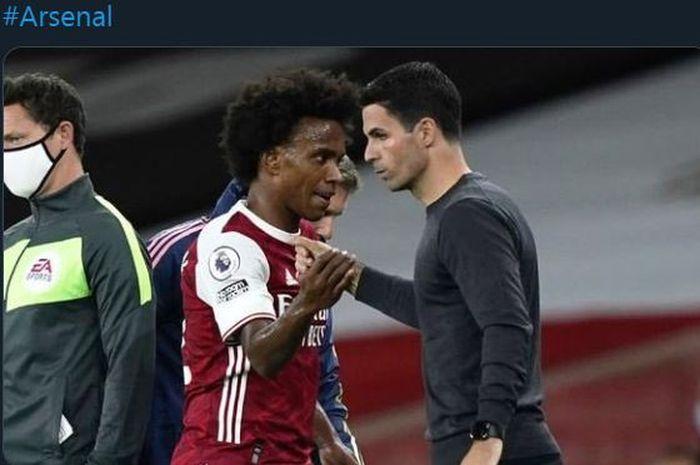Pelatih Arsenal, Mikel Arteta, dan Willian.