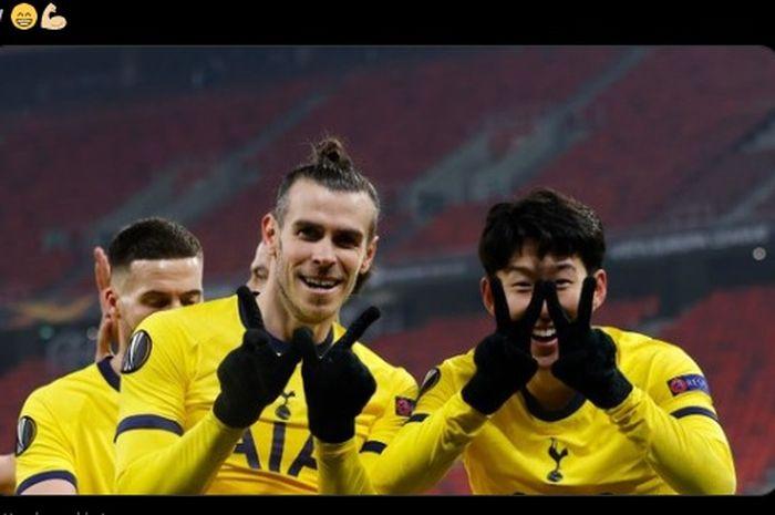 Selebrasi gol Gareth Bale dan Son Heung-min dalam laga kontra Wolfsberger AC di Liga Europa.