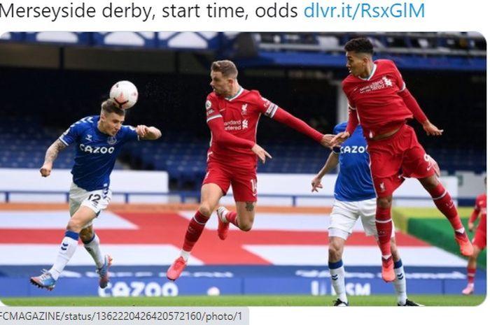 Derbi Merseyside alias duel antara Liverpool melawan Everton akan tersaji pada akhir pekan ini, tepatnya Sabtu (20/2/2021) waktu setempat atau Minggu pukul 00.30 WIB di Stadion Anfield.