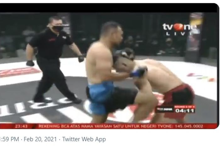Duel antara Alex Munstar melawan Rudy Gunawan di kelas Welter One Pride MMA (20/2/2021)