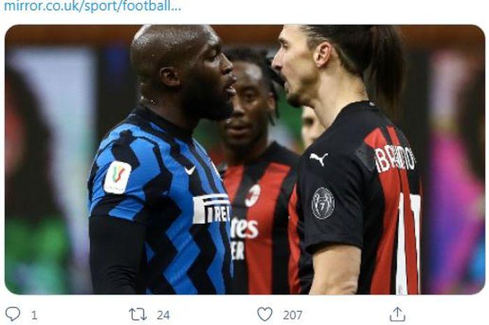 Penyerang Inter Milan, Romelu Lukaku, ketika terlibat perselisihan dengan penyerang AC Milan, Zlatan Ibrahimovic.