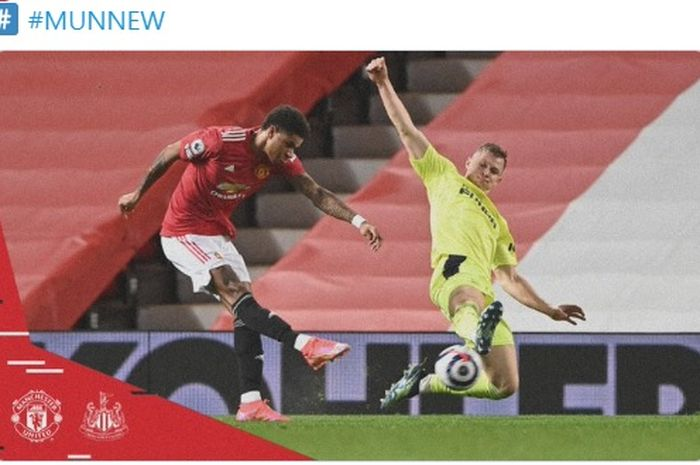 Striker Manchester United, Marcus Rashford, mencetak gol pembuka Setan Merah dalam laga kontra Newcastle United