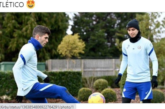 Christian Pulisic (kiri) dan Kai Havertz telah kembali berlatih dan akan ikut ke dalam skuad yang bertolak ke Rumania guna menghadapi Atletico Madrid dalam laga leg pertama babak 16 besar Liga Champions 2020-2021.