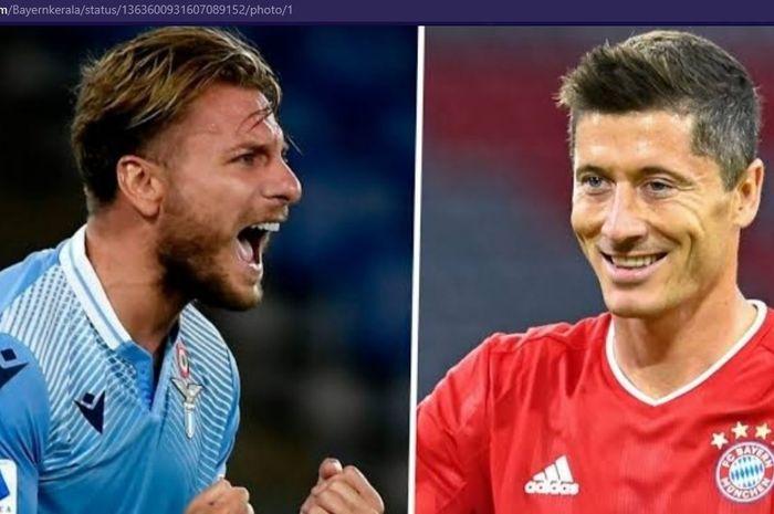 Ciro Immobile dan Robert Lewandowski berpeluang saling berhadapan saat Lazio menjamu Bayern Muenchen dalam laga babak 16 besar Liga Champions 2020-2021, Selasa (23/2/2021) waktu setempat atau Rabu pukul 03.00 WIB.
