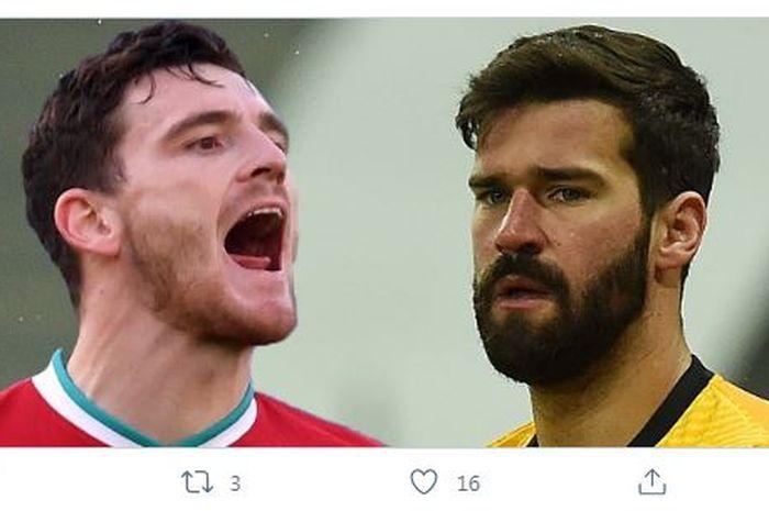 Bek kiri Liverpool,  Andy Robertson, membantah rumor yang menyebut dirinya terlibat adu jotos dengan Alisson di ruang ganti.