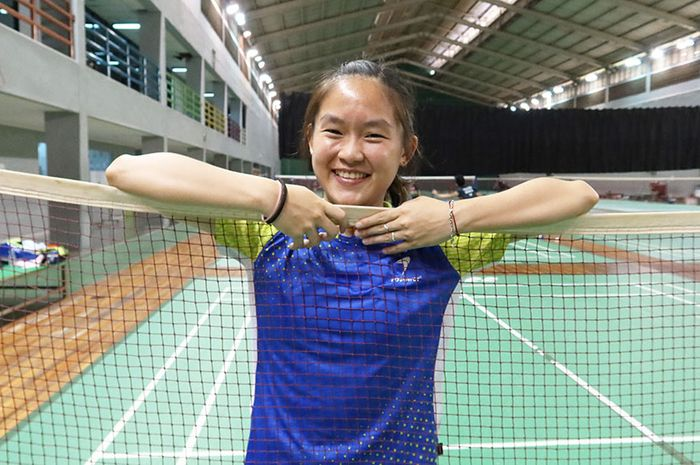 Pemain tunggal putri Indonesia, Ruselli Hartawan, saat ditemui Tim Humas dan Media PP PBSI.