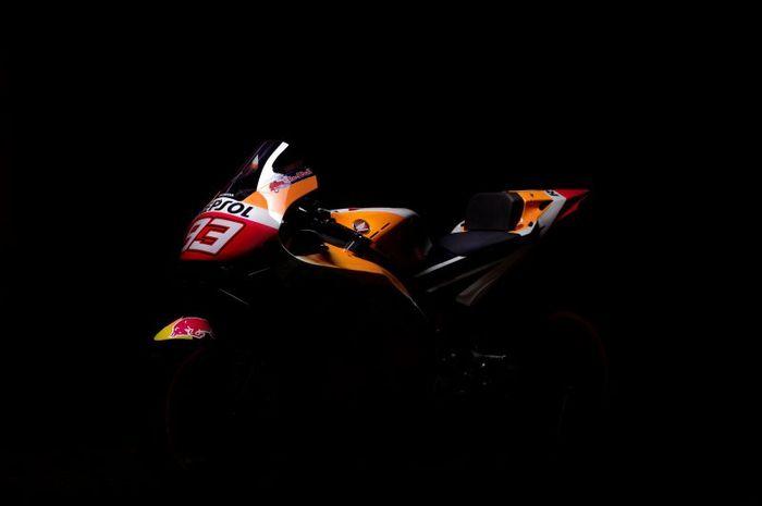 Penampakan motor pembalap Repsol Honda, Marc Marquez, pada MotoGP 2021.