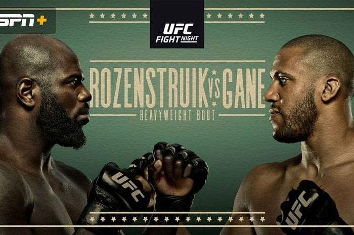 Poster pertandingan Jairzinho Rozenstruik vs Cyril Gane pada UFC Vegas 20 di UFC APEX, Las Vegas, AS, Minggu (28/2/2021) pagi WIB.