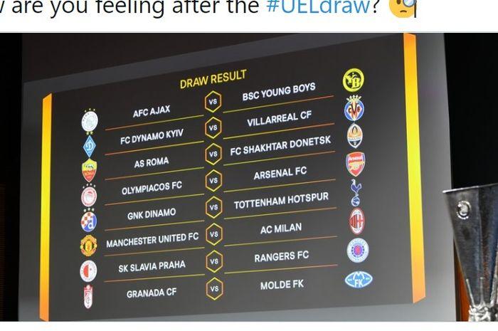 Undian babak 16 besar Liga Europa musim 2020-2021.