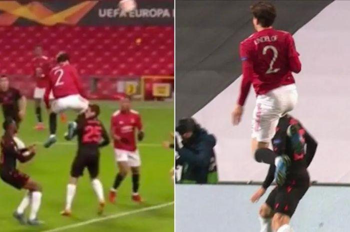 Moment saat pemain Manchester United, Victor Lindelof, menghantam wajah pemain Real Sociedad, Jon Bautista, dengan lututnya saat hendak merebut bola di laga Liga Europa, Jumat (26/2/2021).