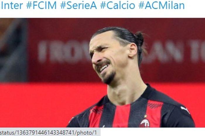 Striker AC Milan, Zlatan Ibrahimovic, masih belum mampu mencetak gol di Liga Europa 2020-2021.