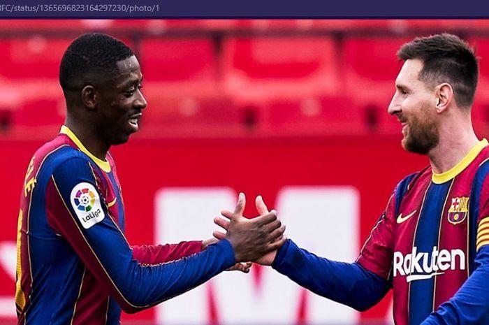 Bocah nakal Barcelona, Ousmane Dembele, menjadi pembawa sial bagi Sevilla, sementara Lionel Messi semakin menggila.