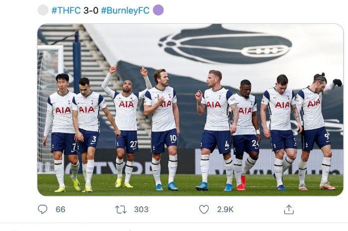 Tottenham Hotspur mengulangi pencapaian mereka pada Liga Inggris musim 2019-2020 pada pertemuan kontra Burnley, Minggu (28/2/2021).