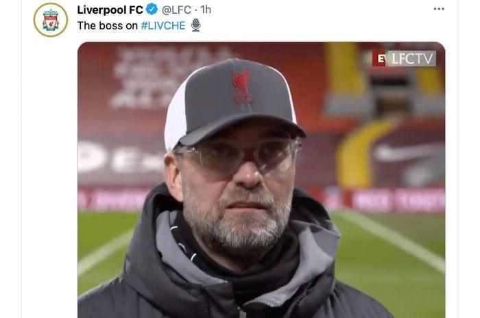 Pelatih Liverpool, Juergen Klopp, mengatakan peluang tinya sudah habis untuk bisa finis pada peringkat empat besar Liga Inggris musim 2020-2021.