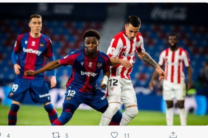 Laga Levante vs Athletic Bilbao di leg kedua semifinal Copa del Rey, Kamis (4/3/2021) di Ciutat de Valencia.