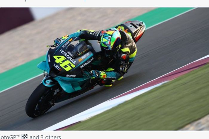 Aksi pembalap Petronas Yamaha, Valentino Rossi pada tes pramusim MotoGP 2021, Qatar (6/3/2021)