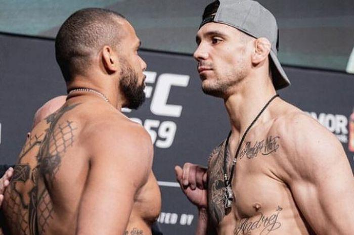 Aleksandar Rakic (kanan) dan Thiago Santos (kiri) jelang duel UFC 259. Akhirnya Rakic keluar sebagai pemenang via angka mutlak.