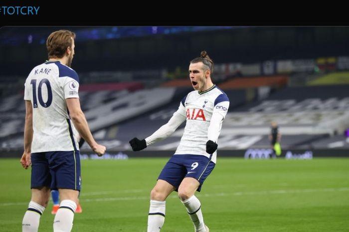 Gareth Bale dan Harry Kane menjadi aktor kemenangan telak Tottenham Hotspur atas Crystal Palace dalam lanjutan laga Liga Inggris 2020-2021.