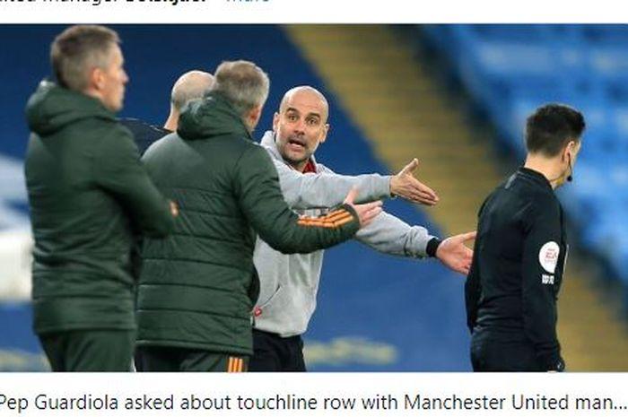 Pep Guardiola terlibat perselisihan dengan Ole Gunnar Solskjaer dalam laga Derbi Manchester pada Minggu (7/3/2021) malam WIB.