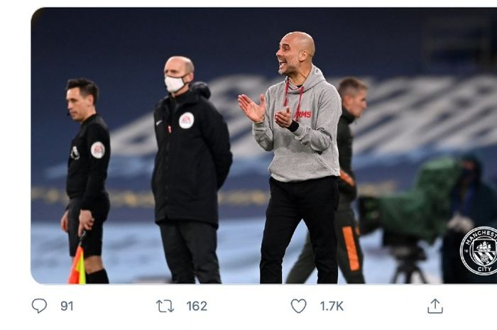 Pep Guardiola, tak mau membesar-besarkan kekalahan 0-2 timnya dari Manchester United pada laga derby dalam lanjutan Liga Inggris, Minggu (7/3/2021).