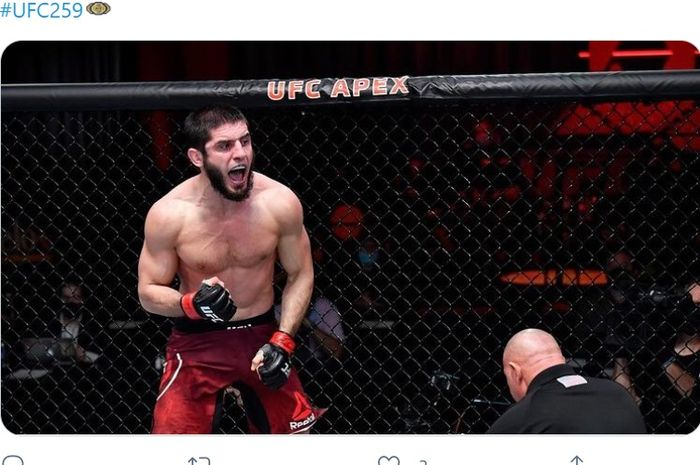 Islam Makhachev mengalahkan Drew Dober dalam gelaran UFC 259, Minggu (7/3/2021) di Las Vegas.