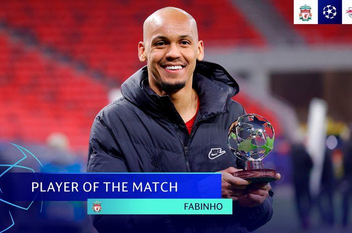 Gelandang bertahan Liverpool, Fabinho, menjadi man of the match saat berhadapan dengan RB Leipzig dalam laga leg kedua babak 16 besar Liga Champions,  Kamis (11/3/2021) pukul 03.00 WIB.