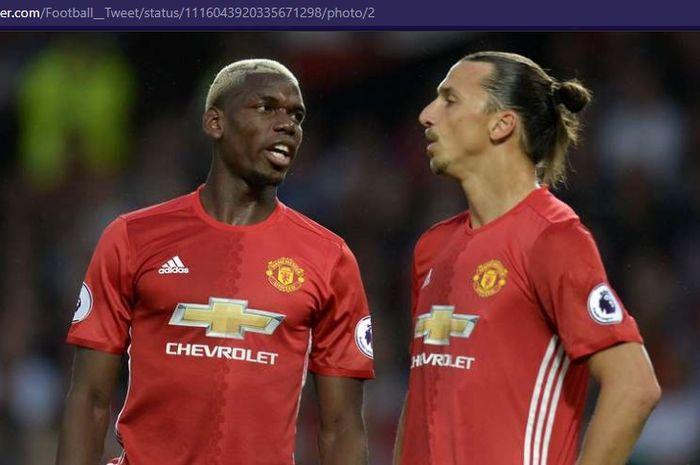Zlatan Ibrahimovic (kanan) dan Paul Pogba saat memperkuat Manchester United.