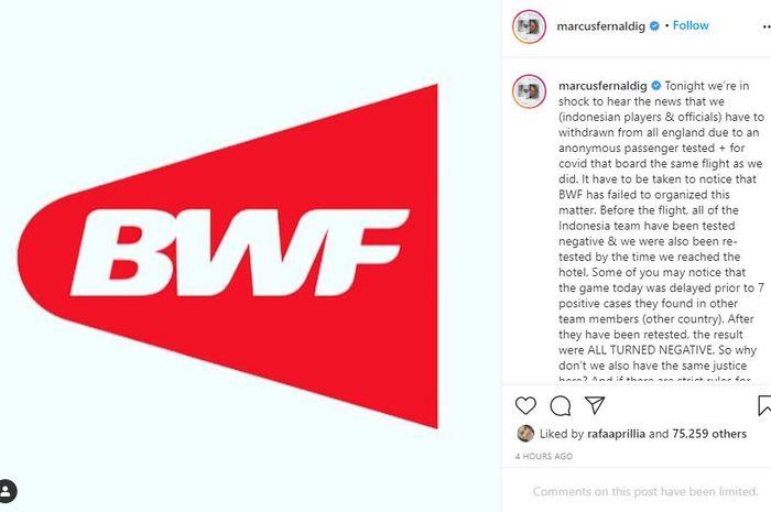Unggahan Instagram Marcus Fernaldi Gideon perihal keputusan BWF yang meminta Indonesia untuk mundur dari All England.