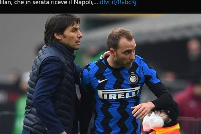 Christian Eriksen dan pelatih Inter Milan, Antonio Conte.