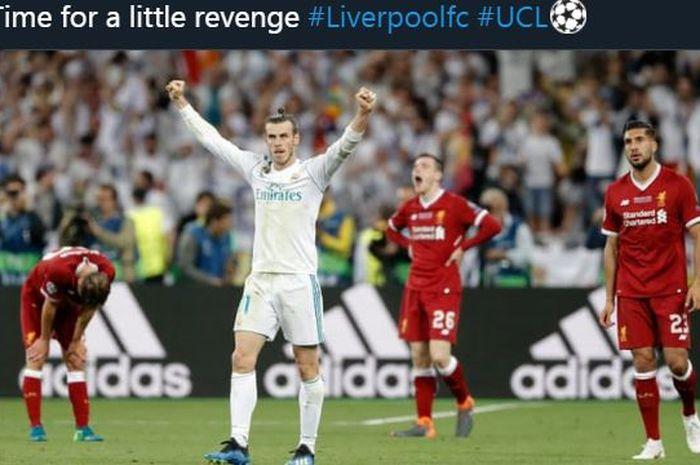 Reaksi Gareth Bale dalam partai final Liga Champions 2018 antara Real Madrid vs Liverpool.