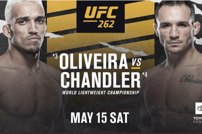 Poster pertarungan antara Charles Oliveira dan Michael Chandler pada ajang UFC 262, 15 Mei 2021 mendatang.