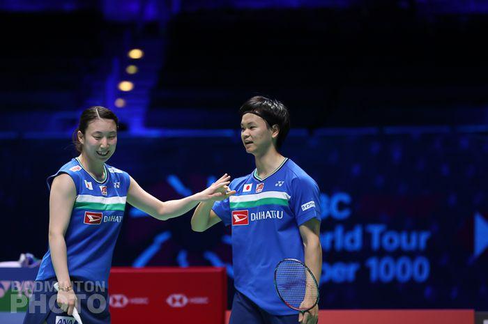 Pasangan ganda campuran Jepang, Yuta Watanabe/Arisa Higashino, pada babak semifinal All England Open 2021 di Utilita Arena, Birmingham, Inggris, Sabtu (20/3/2021).