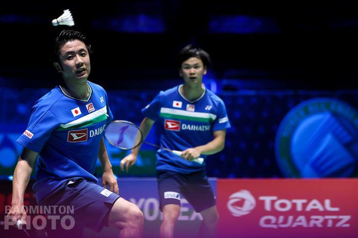 Ganda putra Jepang, Hiroyuki Endo/Yuta Watanabe pada final All England Open 2021, Minggu (21/3/2021)