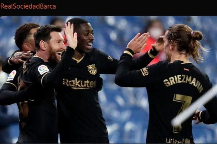 Lionel Messi dan Antoine Griezmann turut mendulang gol dalam kemenangan telak 6-1 Barcelona atas Real Sociedad.