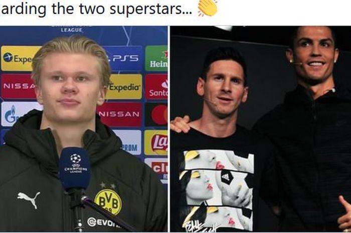 Erling Haaland, Lionel Messi, dan Cristiano Ronaldo.