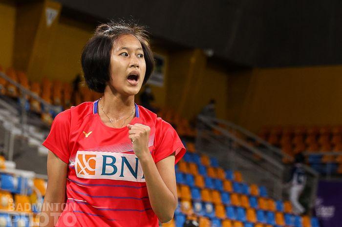 Pebulu tangkis tunggal putri, Putri Kusuma Wardani, saat bertanding pada babak 16 besar Orleans Masters 2021 di Palais des Sports, Orleans, Prancis, 25 Maret 2021.