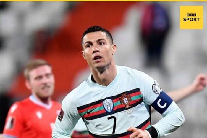 Megabintang timnas Portugal, Cristiano Ronaldo, merayakan gol yang dicetak ke gawang timnas Luksemburg dalam laga Grup A Kualifikasi Piala Dunia 2022 Zona Eropa di Stade Josy Barthel, Selasa (30/3/2021).