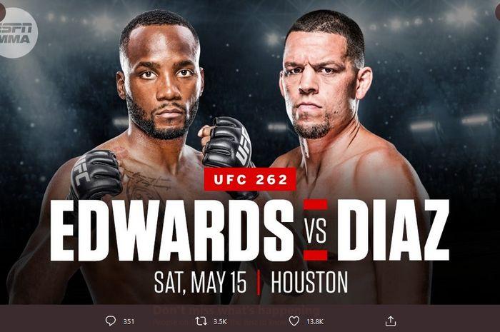 Leon Edwards dan Nate Diaz semula dijadwalkan bertanding pada UFC 262 di Toyota Center, Texas, Amerika Serikat, 12 Mei 2021.