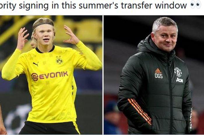 Striker Borussia Dortmund, Erling Haaland, dan pelatih Manchester United, Ole Gunnar Solskjaer.